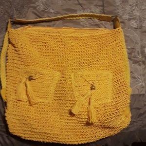 Handbags - Large yellow woven purse